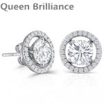 10K White Gold Post 2.24CTW Center 6.5mm H color Moissanite Stud <b>Earring</b> with Jackets Platinum Plated <b>Silver</b> Push Back for Women