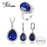 JewelryPalace Luxury Pear Cut Created Sapphire Ring Pendant Necklace <b>Earring</b> Clip Jewelry Set Solid 925 Sterling <b>Silver</b> Jewelry