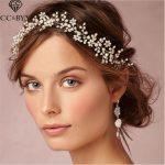 CC <b>Jewelry</b> Headband Mariage Crystal Beads Pearl For Women <b>Wedding</b> Hair Accessories Bride Tiara Party Beach Handmade Bijoux O105