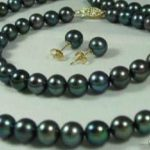 Women's Wedding 7-8mm Black Cultured Pearl Necklaces Bracelets Earrings Set ZRW4573 real silver-<b>jewelry</b> silver-<b>jewelry</b>