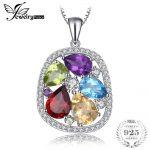 JewelryPalace luxury 4.5ct Genuine Amethyst Garnet Peridot Blue Topaz Pendant <b>Necklace</b> For Women 925 Sterling <b>Silver</b> 45cm