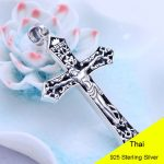 925 Sterling <b>Silver</b> Retro Jesus Good Friday Cross Necklace Pendant Men Thai <b>Silver</b> Fine <b>Jewelry</b> Gift CH047678