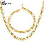 Unisex <b>Jewelry</b> Sets Chunky Figaro Chain 316L Stainless Steel Never Fade Gold color Necklace Bracelet Men <b>Accessories</b> S226G