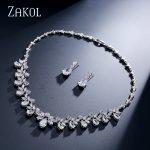 ZAKOL Brand Sparkling Cubic Zirconia <b>Jewelry</b> Sets <b>Fashion</b> Flower Africa Set For Elegant Women Bridal Wedding Party Dress FSSP170