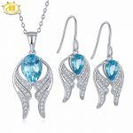 Hutang Natural Sky Blue Topaz Bridal Jewelry Sets Solid 925 Sterling <b>Silver</b> Wing Pendant & <b>Earrings</b> Gemstone Fine Jewelry Gift