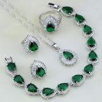 925 <b>Silver</b> Jewelry Green Created Emerald White Crystal Jewelry Sets For Women Wedding Earring/Pendant/Necklace/<b>Bracelet</b>/Ring