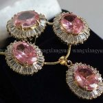 Women's Faceted Pink Crystal Earrings / Ring / Necklace Pendant Set>AAA GP Bridal wide watc real silver mujer fine quality