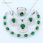 L&B Russian green created Emerald Ring Pendant Earrings Necklace <b>bracelet</b> <b>Silver</b> color party sunflower Jewelry Set for women