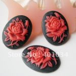Oval black resin cabochon with red rose cameo,18*25mm for <b>jewellery</b> making,phone beauty and home <b>decoration</b>