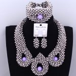 Dudo Jewelry Trendy African Beads Necklace Women <b>Silver</b> African Wedding Big Nigerian Jewelry Sets For Women 2018 Free Shipping