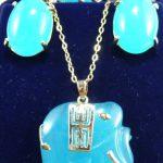 real s Wedding wholesale noble blue stone stud earrings ring(#6.7.8) elephant pendant <b>jewelry</b> set silver-<b>jewelry</b>