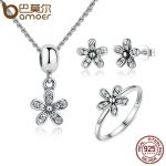 BAMOER Genuine 925 Sterling <b>Silver</b> <b>Jewelry</b> Set Dazzling Daisy & Clear CZ Bridal <b>Jewelry</b> Sets Sterling <b>Silver</b> <b>Jewelry</b> ZHS015