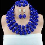 Classic Royal Blue African Costume Beaded <b>Jewelry</b> Set <b>Handmade</b> 3 Layers Nigerian Beads Wedding Jewellry Set Free Shipping 10057