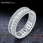 ANFASNI Elegant 925 Sterling Silver Rings CZ Finger Ring for Women Fashion <b>Wedding</b> Eternity <b>Jewelry</b> Bague Anillos CGSRI0026-B