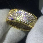 <b>Handmade</b> <b>Jewelry</b> Yellow Gold Filled 925 Silver ring Pave set 320pcs 5A zircon Stone Engagement Wedding Band Rings for women men