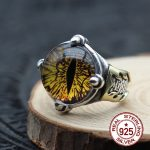S925 <b>sterling</b> <b>silver</b> men's ring personalized fashion classic retro <b>jewelry</b> domineering eyes send a gift of lover 18 years hot