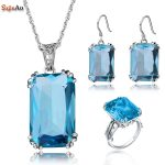 Szjinao Wedding <b>Jewelry</b> Sets Aquamarine Earring/Pendant/Ring For Brides Accessories Real 925 <b>Sterling</b> <b>Silver</b> Gift Women