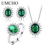UMCHO 925 Sterling <b>Silver</b> Jewelry Set Nano Green Emerald Ring Pendant Stud <b>Earrings</b> For Women Brand Fine Jewelry Top Quality