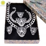 Cool Leopard Head <b>Bracelet</b> Earrings Ring Necklace For Women Trendy <b>Silver</b>/Gold Color Costume African Jewelry Sets+Gift Boxes