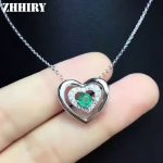 ZHHIRY Natural Emerald Necklace Pendant Genuine 925 <b>Sterling</b> <b>Silver</b> For Women Heart Shaped Real Gemstone Fine <b>Jewelry</b>