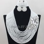 <b>Handmade</b> African Wedding Beads Bridal <b>Jewelry</b> Set Opaque White Crystal Jewellery Nigerian Beads Necklace Free Shipping ABF691