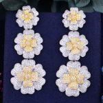 GODKI 66mm Luxury Daisy Flower Full Mirco Paved Microl Zirconia Naija <b>Wedding</b> Earring Fashion <b>Jewelry</b>