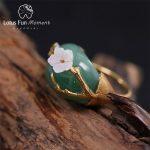 Lotus Fun Moment Real 925 Sterling Silver Natural Stones Original <b>Handmade</b> Design Fashion <b>Jewelry</b> Plum Flower Rings for Women