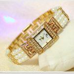 2017 Arrival Bling Pearl Watch Women Luxury Square Austrian Crystals Watch <b>Silver</b> Shinning Diamond Rhinestone Bangle <b>Bracelet</b>