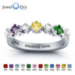 Personalized <b>Wedding</b> <b>Jewelry</b> Colorful Birthstone Engrave Names Ring 925 Sterling Silver Rings For Women (JewelOra RI101969)