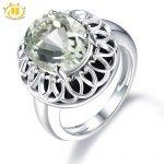 Hutang Natural Gemstone Amethyst Engagement Ring Solid 925 <b>Sterling</b> <b>Silver</b> Black Agate Fine Fashion Green Stone <b>Jewelry</b> For Gift
