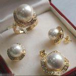 Prett Lovely Women's Wedding shipping>>>>>>Elegant 10mm &14mm White South Sea Shell Pearl 18KGP Earrings Pendant Ring Set