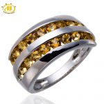 Hutang Natural Citrine Gemstone Solid 925 Sterling <b>Silver</b> Ring Fine <b>Jewelry</b> Women Mother's day gift