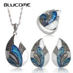 Blucome Classic Water Drop Tears <b>Jewelry</b> Set Necklace Earring Ring Sets Abalone Shell Bijoux For Women Lady Party <b>Wedding</b> Rings