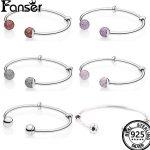 FANSER Open Women round ball BANGLE Geniune S925 <b>Silver</b> Original Copy <b>BRACELET</b> Has Logo & Two-Tone PANDORS Fashion Jewelry