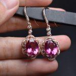 On Sale Fine Jewelry real high quality 925 sterling <b>Silver</b> 100% Natural Pink Topaz Gemstone <b>Earrings</b> For Women Fine <b>earrings</b>