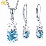 Hutang Natural Sky Blue Topaz Bridal Jewelry Sets Solid 925 Sterling <b>Silver</b> Pendant & <b>Earrings</b> Gemstone Fine Jewelry For Gift