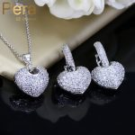 Pera High Quality Clear Hoop AAA+ Cubic Zirconia Micro Pave Romantic Women Party Big Heart Shape Necklace And Earrings Sets J219
