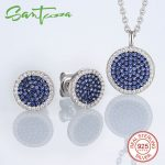 Jewelry Sets for Women Small Round Blue CZ Stones Jewelry Set Stud Earrings Pendant <b>Necklace</b> 925 Sterling <b>Silver</b> Jewelry Set