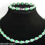 Women's Wedding Green Round Coin gem Silver Bracelet & Necklace Set >AAA GP Bridal silver- moda real silver-<b>jewelry</b>