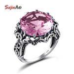 Szjinao Vintage Charm Romantic Pink Ring Design Fashion Zircon 100% 925 Sterling <b>Silver</b> <b>Jewelry</b> Brand Bulgaria Wholesale