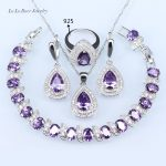 L&B <b>silver</b> Color 925 Logo Jewelry Sets For Women Light Purple Stone White crystal <b>Bracelet</b>/Pendant/Necklace/Earrings/Rings