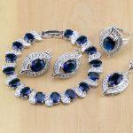 925 Sterling <b>Silver</b> Jewelry Blue CZ Jewelry White Zircon Jewelry Sets Women Earring/Pendant/Necklace/Rings/<b>Bracelet</b>