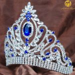 Princess <b>Wedding</b> Bridal Tiara Crown Blue Rhinestone Crystal Headband Veil Miss Pageant Women Hair <b>Jewelry</b>