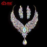 Bridal <b>Wedding</b> <b>jewelry</b> set Aurora color rhinestone cubic for women's party necklace earrings set peacock wig crystal AB <b>jewelry</b>