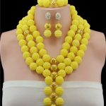New Arrival Nigerian Wedding African Beads <b>Jewelry</b> Set Yellow African Costume <b>Jewelry</b> Sets <b>Handmade</b> Balls Beads Necklace Sets
