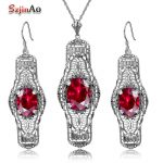 Szjinao New Nigerian Wedding African Jewelry Sets Handmade Vintage Jewelry Sets 925 Sterling <b>Silver</b> Red Ruby Ring Pendant