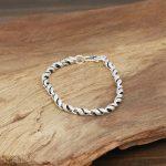 Thai Silver Genuine 925 Silver Mens <b>Jewelry</b> Bracelet For Men Male <b>Handmade</b> Thai silver Twisted bamboo Bracelet