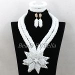 Plain White Crystal African Women Wedding <b>Jewelry</b> Sets Party Gifts New <b>Handmade</b> Flowers Beads Necklace Set Free Shipping ABK572