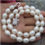 Fashion 11-13 mm natural white baroque pearl necklace 18inch