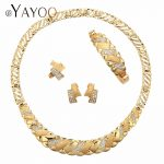 AYAYOO Women <b>Jewelry</b> Sets For Bridal Fashion Wedding Turkish Jewellery Imitation Crystal Gold Color Necklaces Party <b>Accessories</b>
